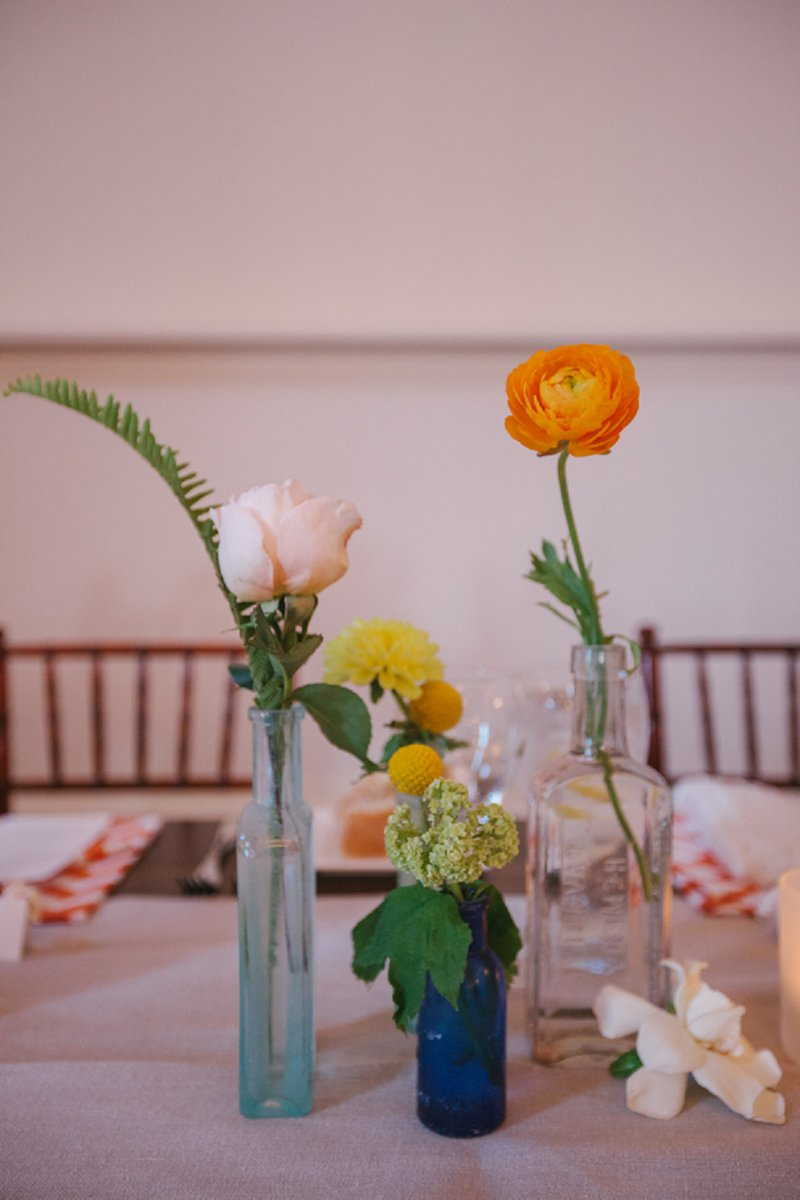 Eclectic Coral, Yellow and Green Florida Wedding via TheELD.com