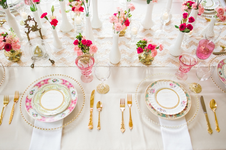 Glittering Pink and Gold Wedding Inspiration via TheELD.com