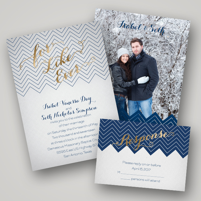 Wedding Invitation Ideas: Foil-Pressed Invitations