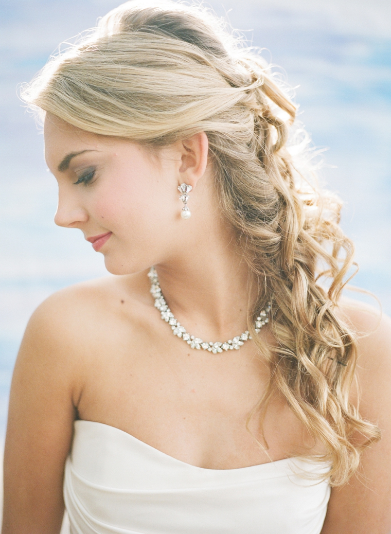 on earrings bride day and beautiful sweet wedding a ear young is photo in gi her going putting brunette