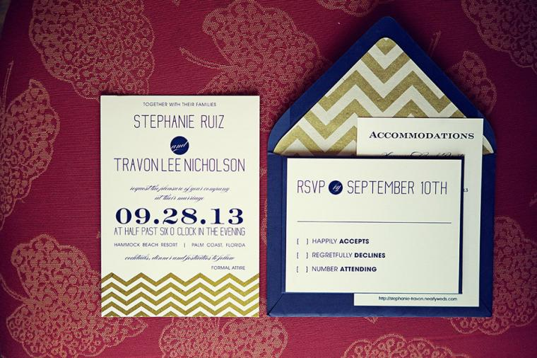 Modern Navy and Gold Wedding via TheELD.com