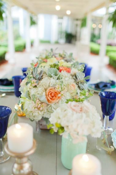 Eclectic Navy, Mint, & Peach Wedding Ideas via TheELD.com