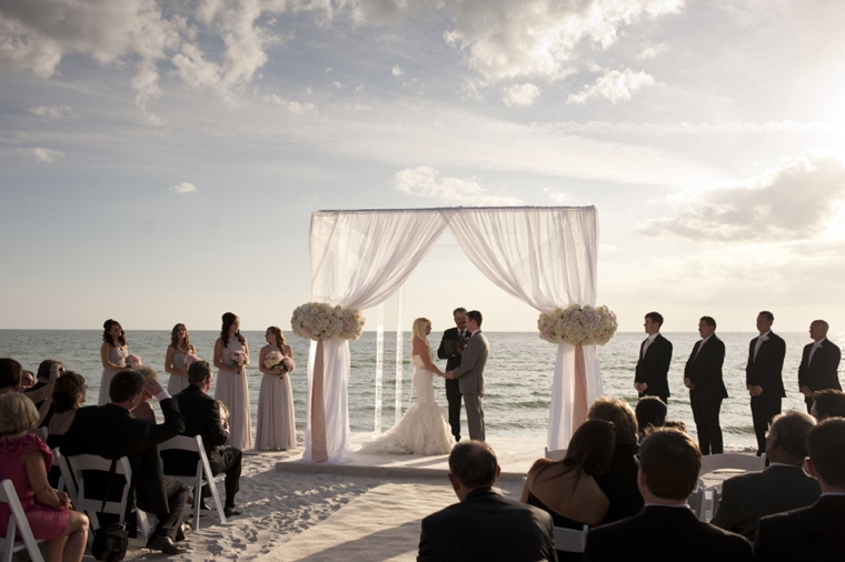 A Glamorous Silver & Blush Beach Wedding via TheELD.com