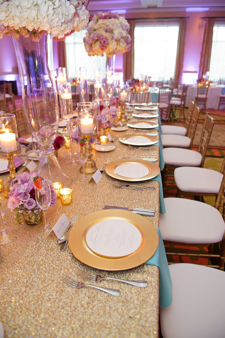 Chic Gold, Aqua, and Lavender Wedding via TheELD.com