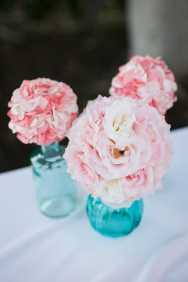 Aqua, Pink & Gold Disneyland Wedding  via TheELD.com