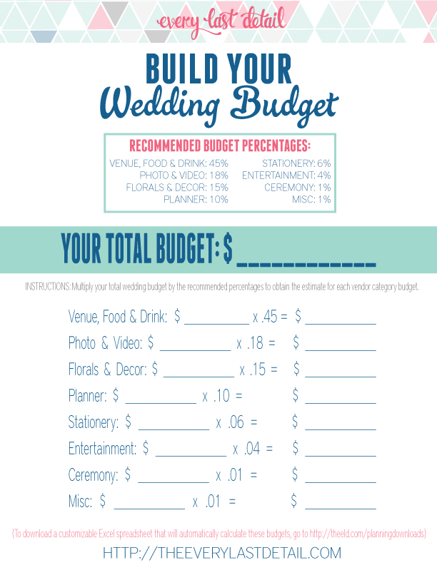 How To Create A Wedding Budget Every Last Detail