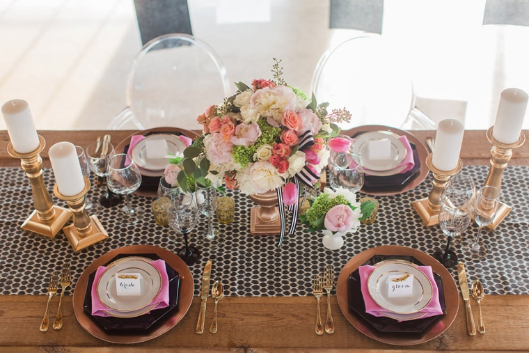 Chic Pink & Black Kate Spade Wedding Ideas via TheELD.com