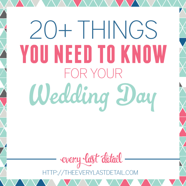 20+ Things You Need To Know For Your Wedding Day via TheELD.com