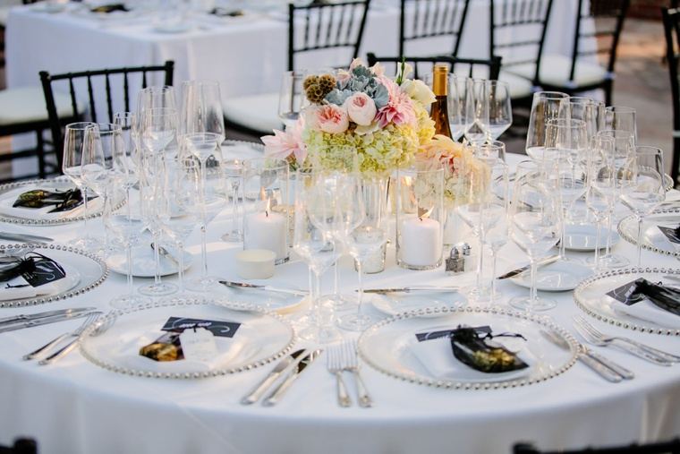 Elegant Black, White, & Blush California Wedding via TheELD.com