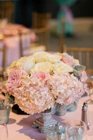 A Romantic Blush, Mint and Gold Wedding via TheELD.com
