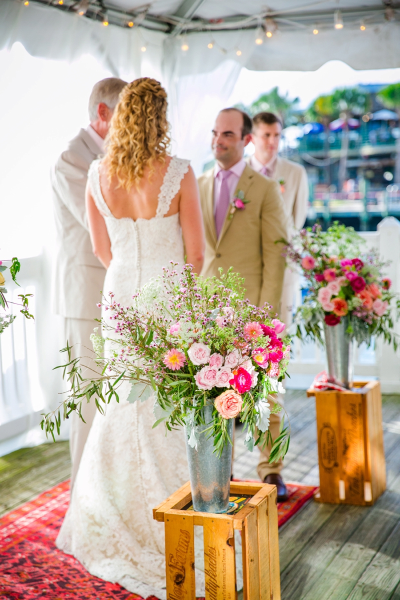 Colorful Pink & Orange Charleston Wedding via TheELD.com