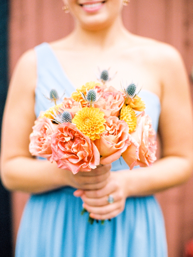 Rustic Peach & Blue North Carolina Wedding via TheELD.com