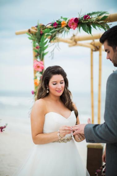 Chic Yellow & Pink Beach Wedding Ideas via TheELD.com