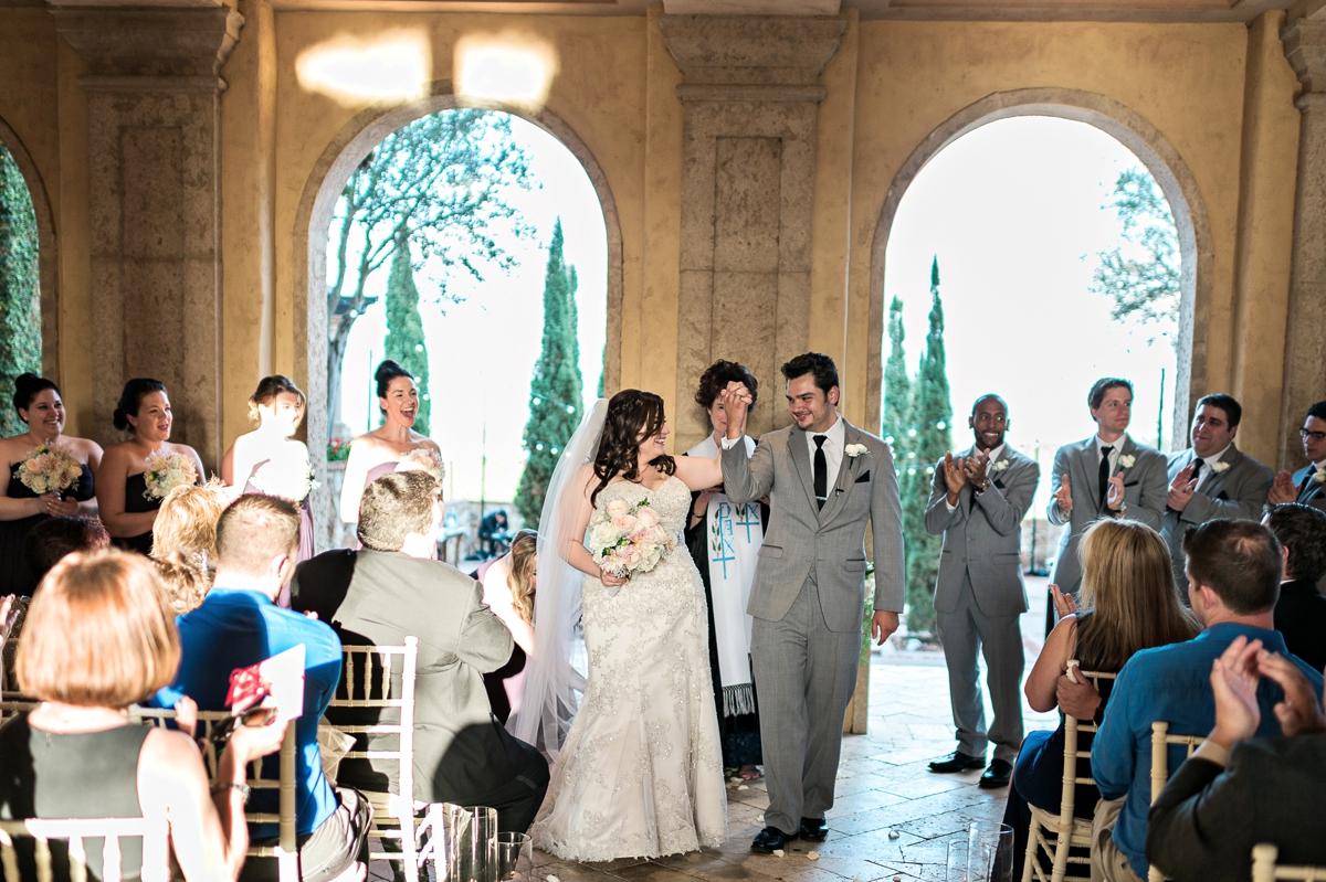 Romantic Peach & Gold Garden Wedding via TheELD.com