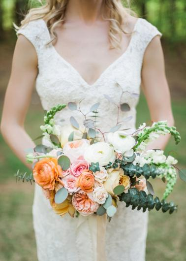 Elegant Peach and Teal Backyard Wedding via TheELD.com