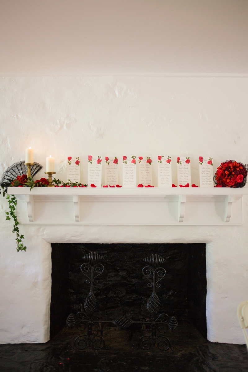 Elegant Red and Black Wedding Inspiration via TheELD.com