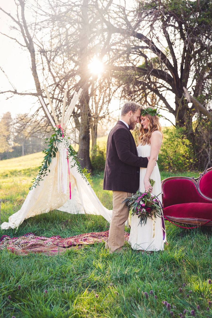 Ideal Wedding Hairstyles And Makeup Ideas For Blondes: Colorful Rustic Boho Wedding Ideas