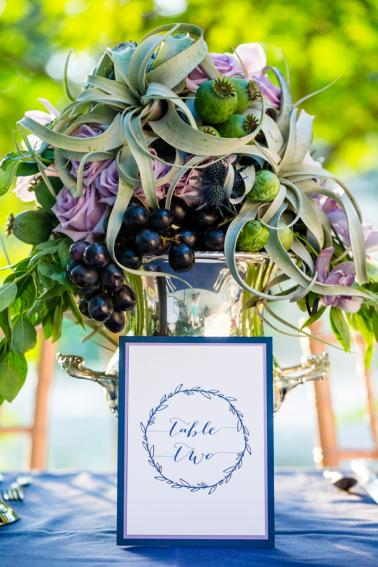 Romantic, Whimsical Navy and Lavender Wedding Ideas via TheELD.com