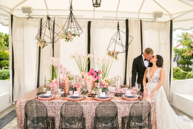 Modern Glam Black & Rose Gold Wedding Ideas