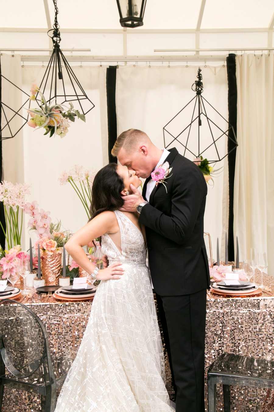 Modern Glam Black & Rose Gold Wedding Ideas via TheELD.com