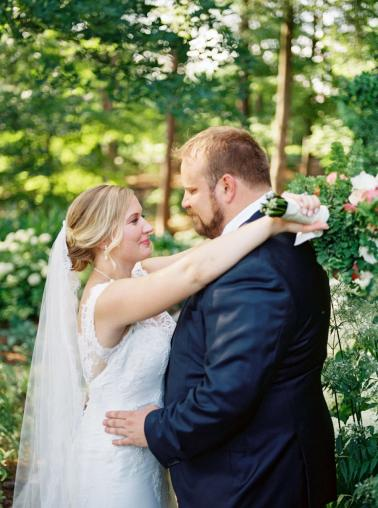 Yellow and Coral North Carolina Garden Wedding via TheELD.com
