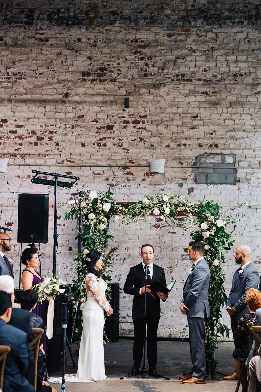 Plum and Ivory Industrial Tampa Wedding via TheELD.com