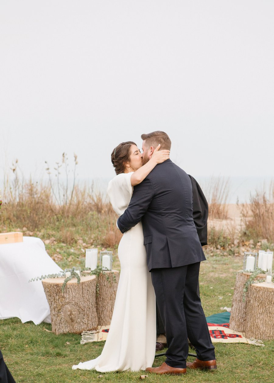 Boho Gray, Blue, & Red Illinois Wedding via TheELD.com