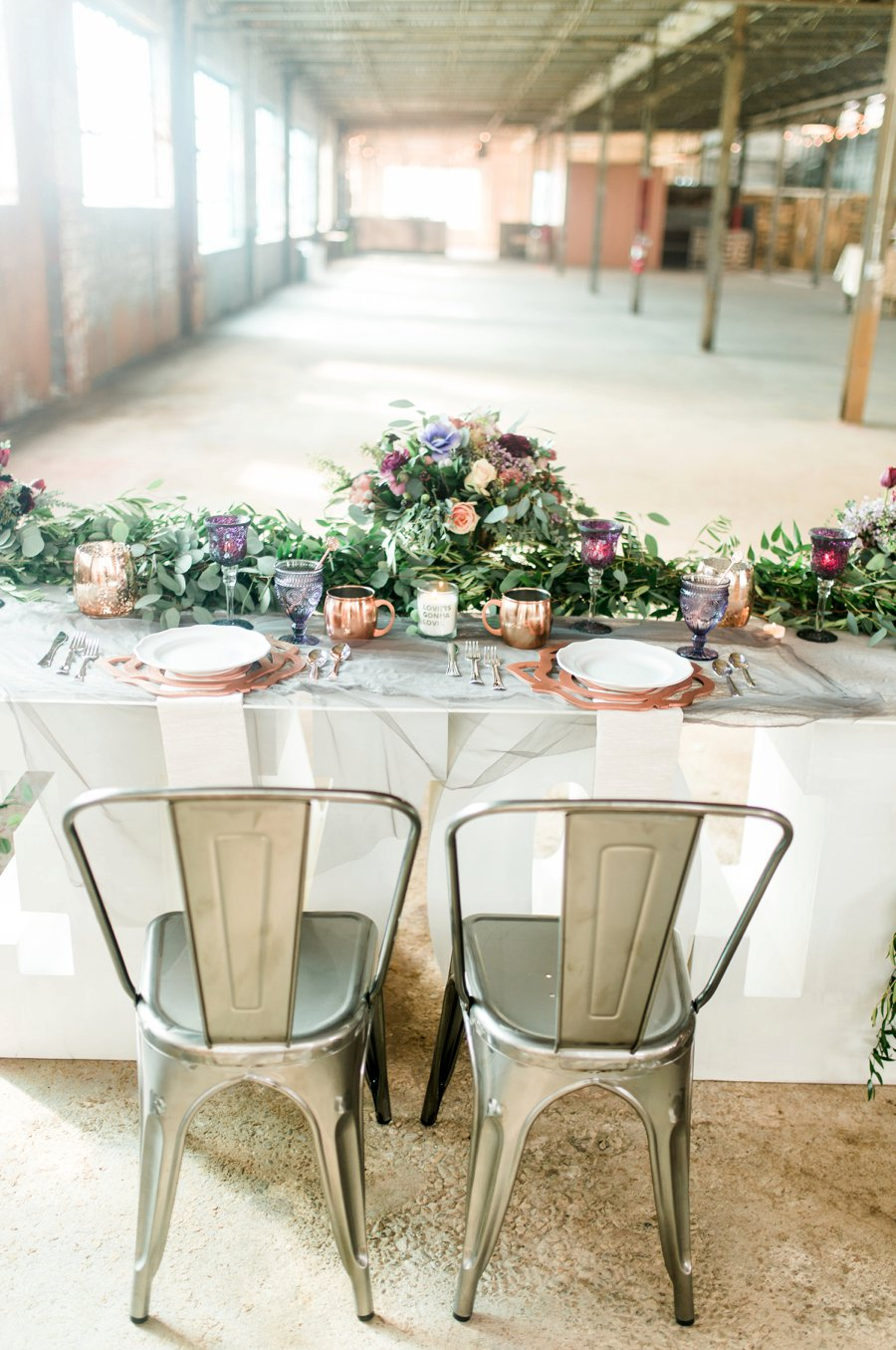 Lavender & Burgundy Love Inspired Industrial Wedding Ideas via TheELD.com