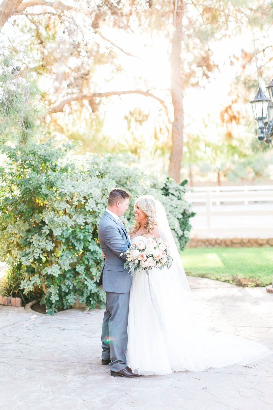 Blue & Peach Las Vegas Garden Wedding via TheELD.com