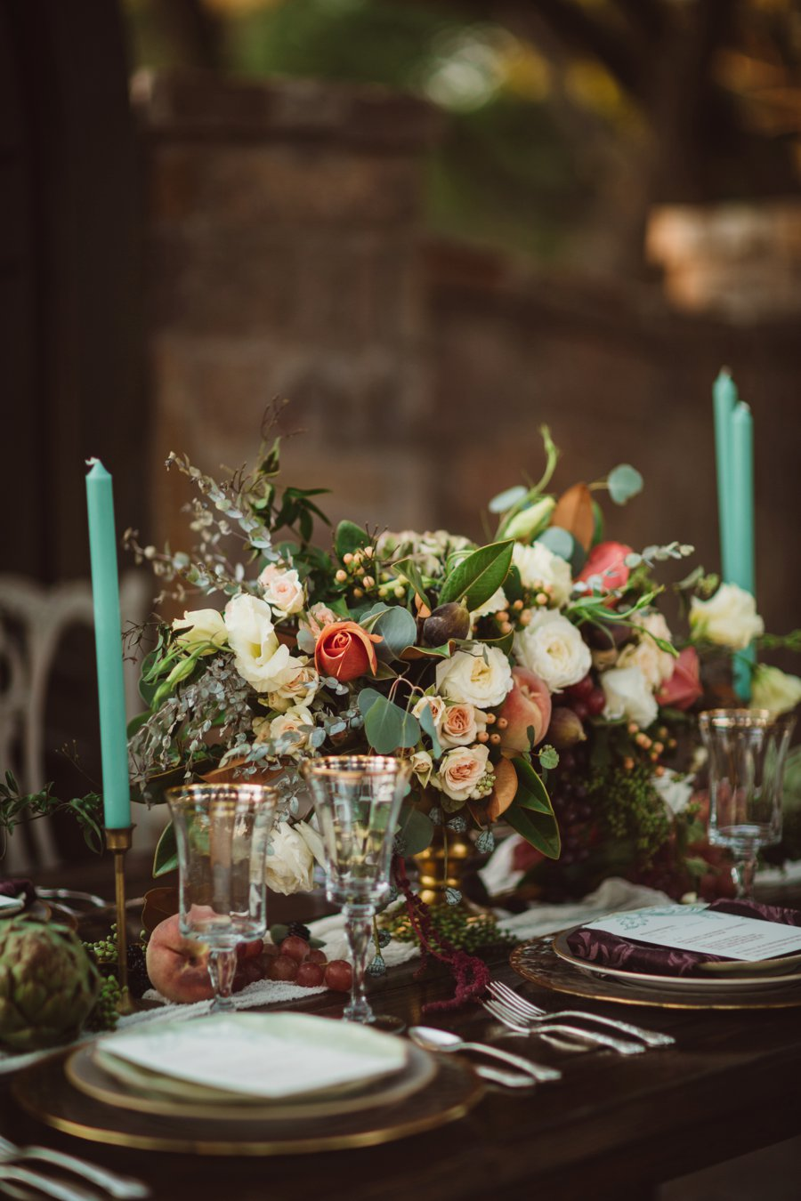 Plum, Peach, & Teal Art Inspired Wedding Ideas via TheELD.com