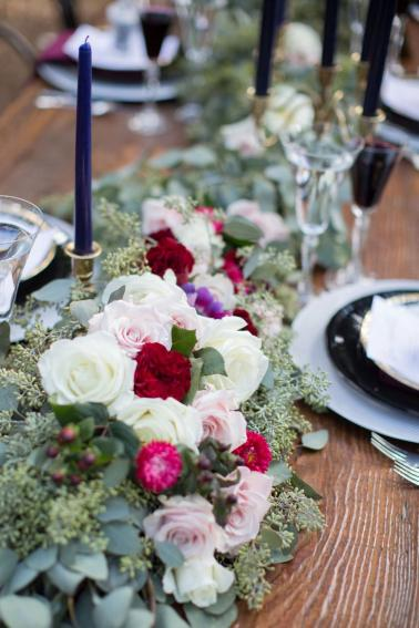Elegant Navy & Red Woodland Wedding Ideas via TheELD.com