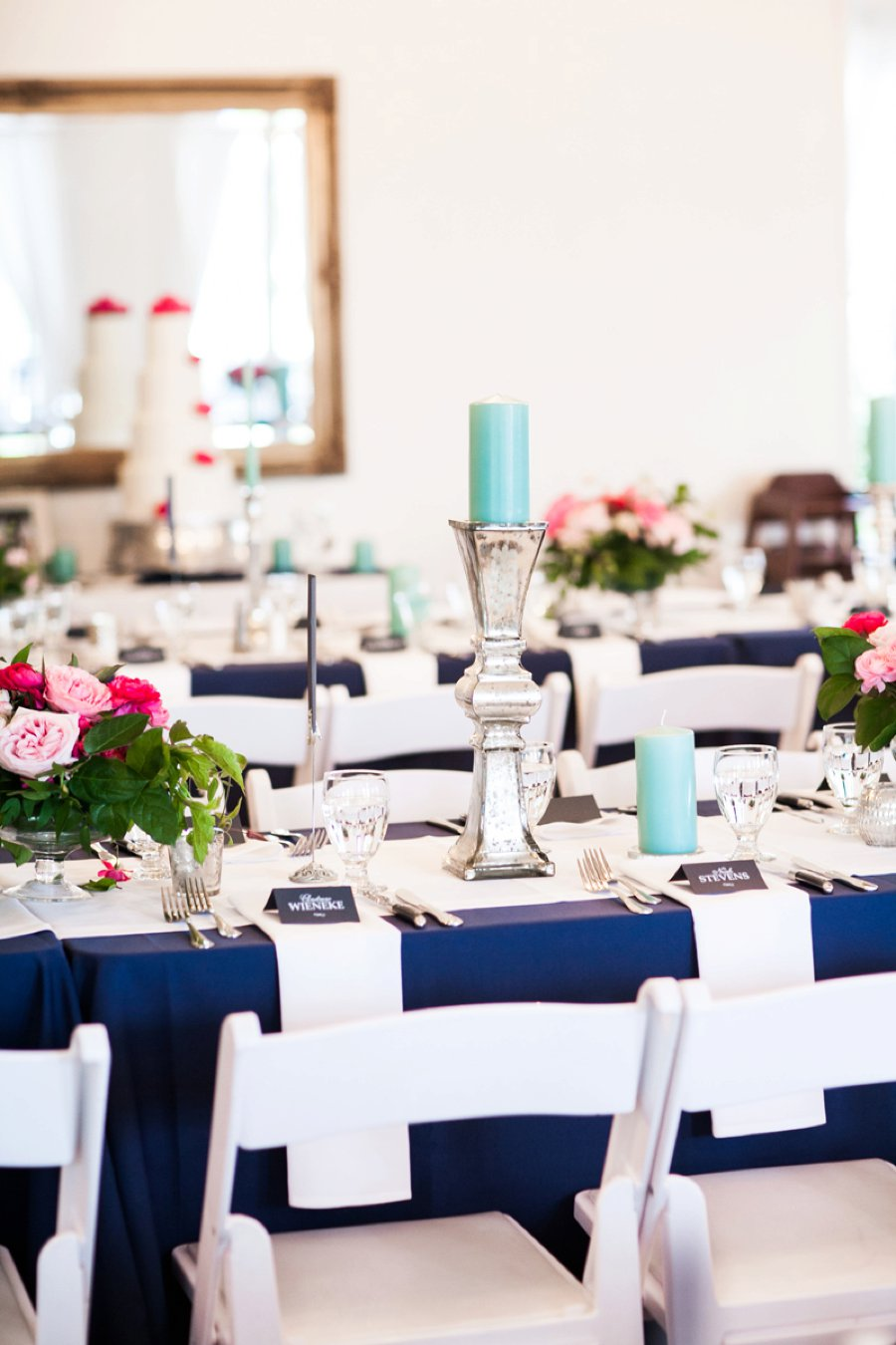 A Preppy Pink, Navy, & Teal Pacific Northwest Wedding via TheELD.com