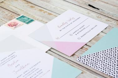 Colorful Modern Wedding Invitations via TheELD.com