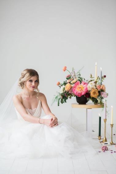 Colorful Coral & Peach Floral Wedding Inspiration via TheELD.com