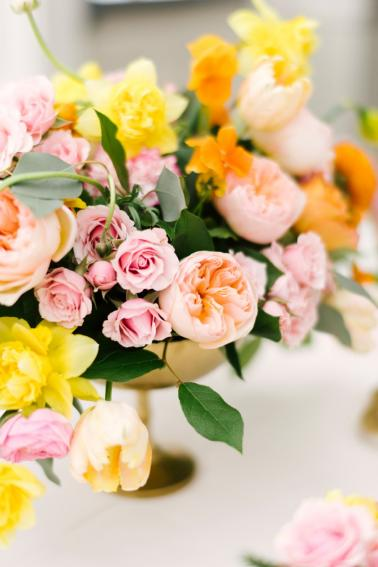 Colorful Pink & Yellow Summer Wedding Ideas via TheELD.com