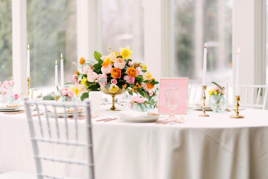 Colorful Pink & Yellow Summer Wedding Ideas via TheELD.com