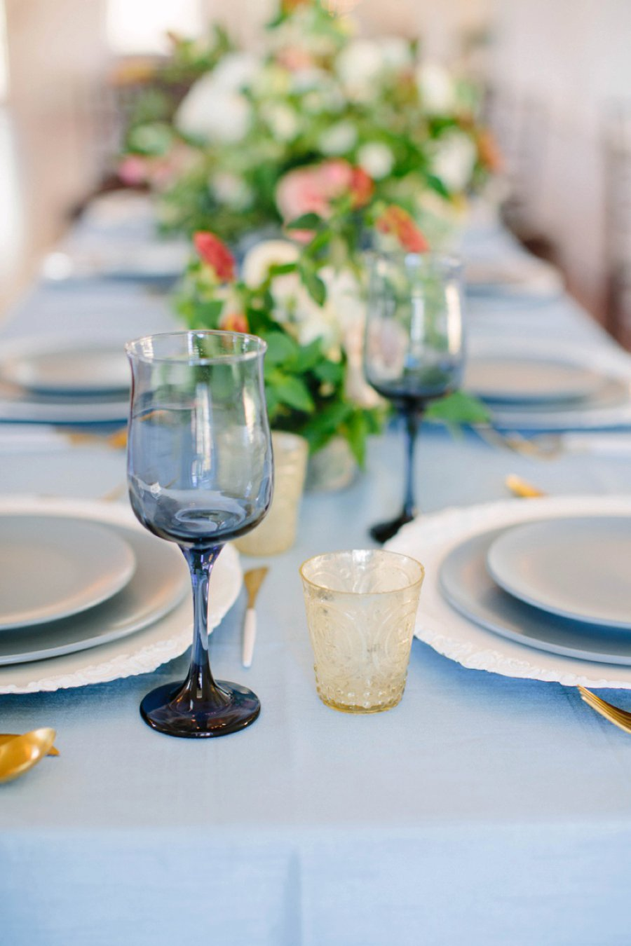Elegant Floral Blue & Peach Wedding Ideas via TheELD.com