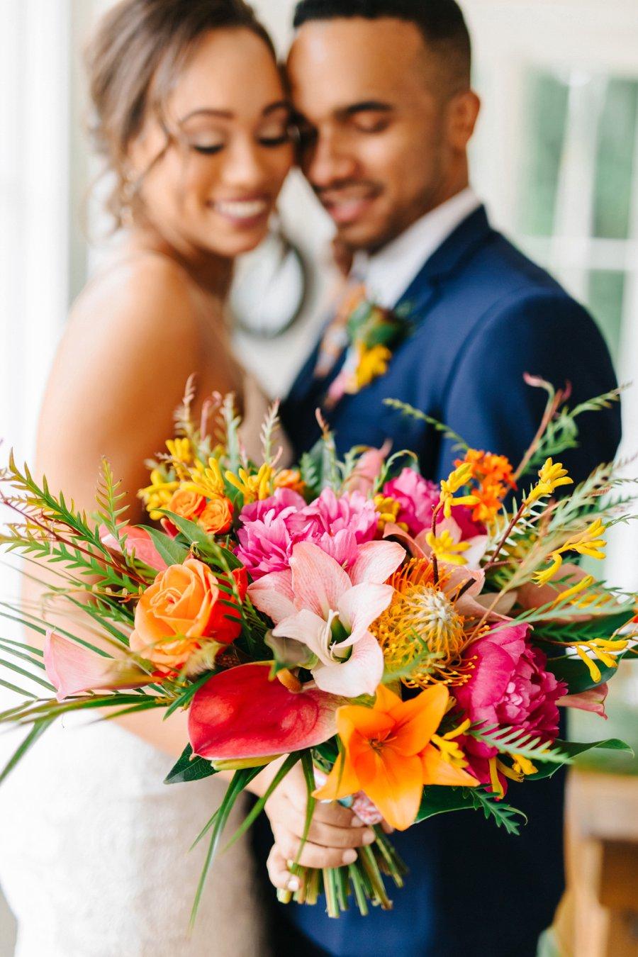 Colorful & Elegant Tropical Wedding Ideas via TheELD.com