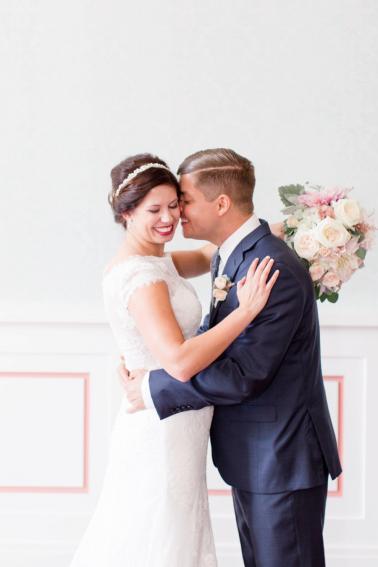 A Simple Elegance Blush & Navy Indiana Wedding via TheELD.com