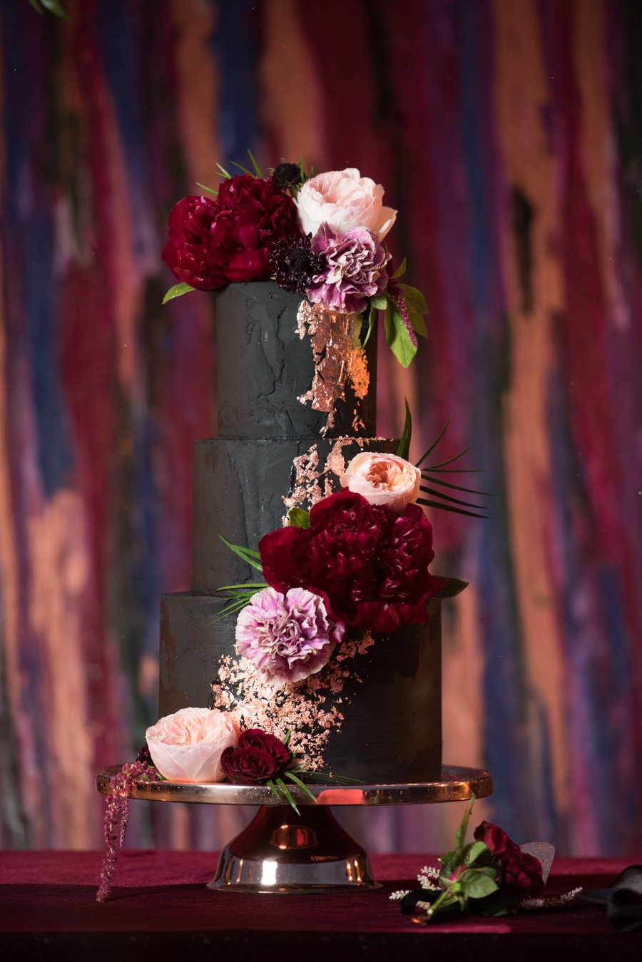 Moody Burgundy & Black Industrial Wedding Ideas via TheELD.com