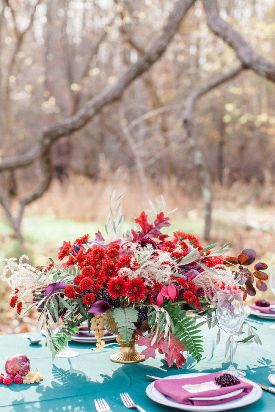 Red & Teal Whimsical Fall Wedding Ideas via TheELD.com