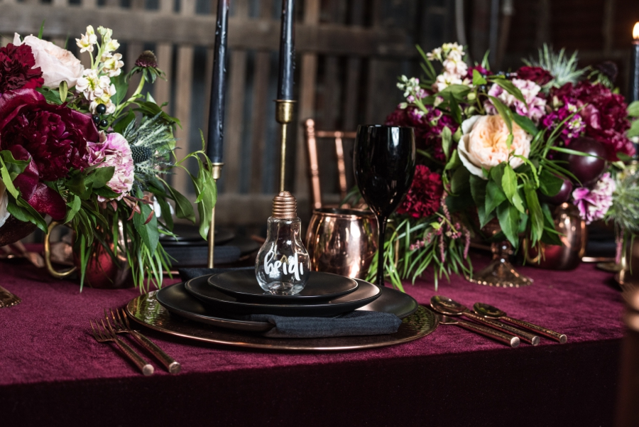 Moody Burgundy & Black Industrial Wedding Ideas | Every Last Detail