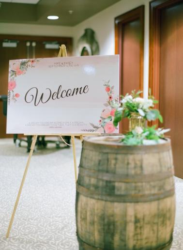 A Peach & Green Boho Ballroom Wedding via TheELD.com