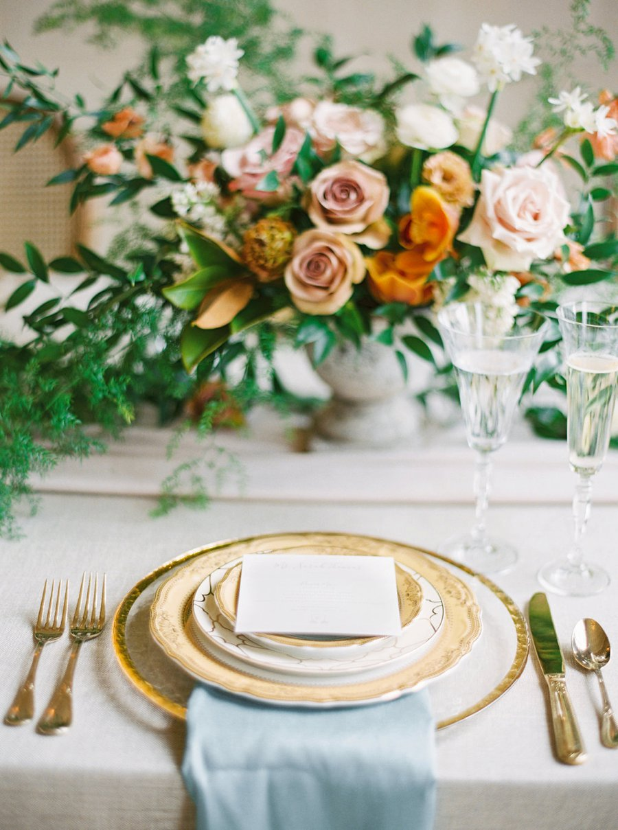 Romantic Peach & Orange Autumn Inspired Wedding Ideas via TheELD.com