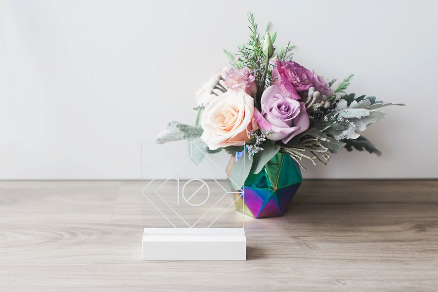 Modern Pink & Purple Iridescent Wedding Ideas via TheELD.com