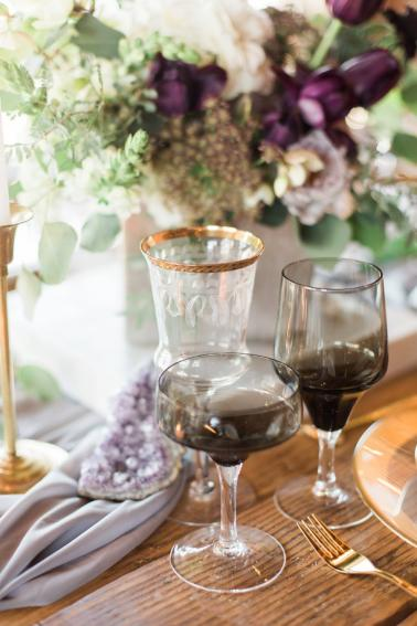 Elegant Amethyst & Marble Industrial Wedding Ideas via TheELD.com