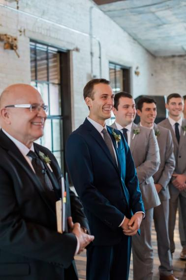A Blush & Navy Rustic Industrial Michigan Wedding via TheELD.com