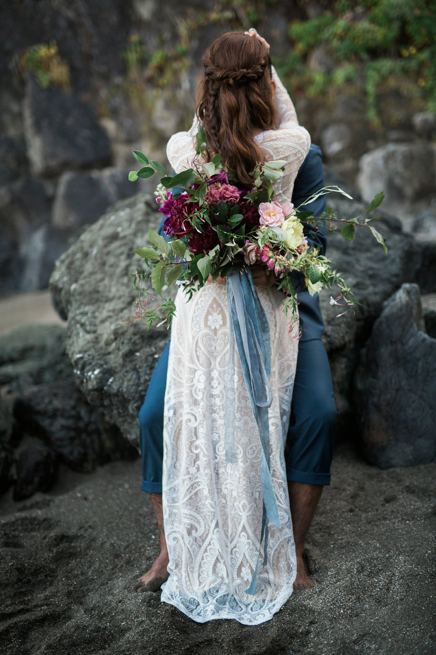 Aqua, Burgundy, & Blush Romantic Coastal Wedding Ideas via TheELD.com