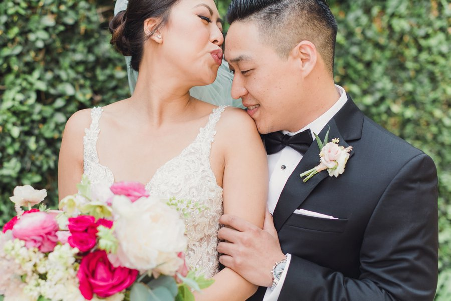 A Timeless Bright Pink, White, & Gold Los Angeles Wedding via TheELD.com