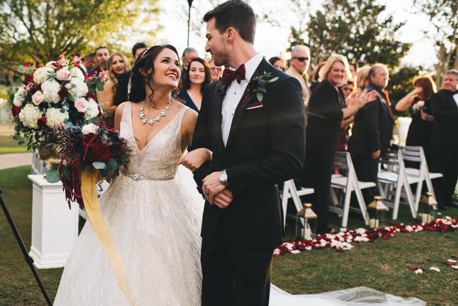 An Elegant Burgundy and Navy Fairytale Orlando Wedding Day via TheELD.com